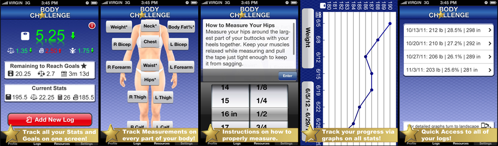 and if you dont know your body fat the app will automatically calculate it using your inputted body measurements